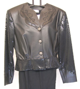 fitted waist faux leather jacket